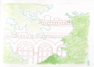 Zwischen Bäumen: Blick auf das zoologische Museum vom Melanie Wiesenthal